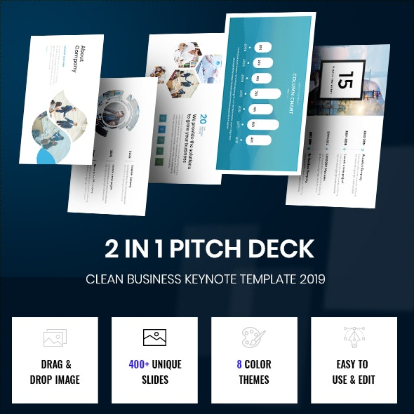 Bundle 2 in 1 Smart Pitch Deck Keynote Template 2019 - Business Keynote Templates