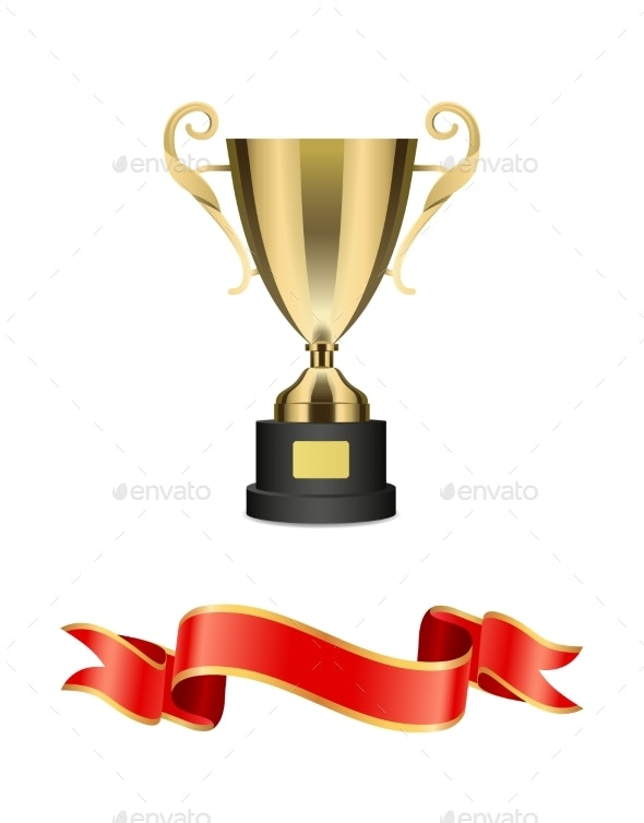 Gold Trophy Cup with Red Ribbon Vector Decoration - Decorative Symbols Decorative