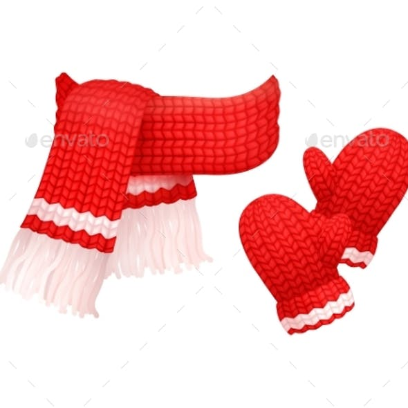 Woolen Mittens and Knitted Scarf with White Thread