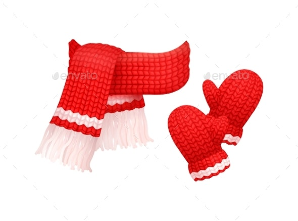 Woolen Mittens and Knitted Scarf with White Thread - Man-made Objects Objects