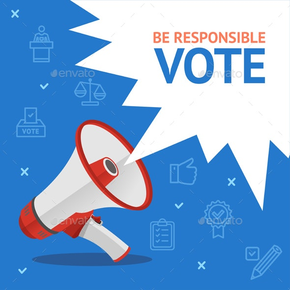 Vote Concept Card with Loudspeaker - Miscellaneous Vectors