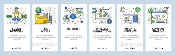 Website Onboarding Screens Internet and Global - Web Elements Vectors