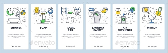 Website Onboarding Screens Bathroom Accessories - Web Elements Vectors
