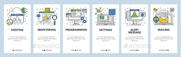 Website Onboarding Screens Computer and Internet - Web Elements Vectors