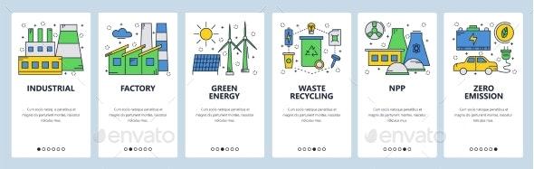 Website Onboarding Screens Green and Renewable - Web Elements Vectors