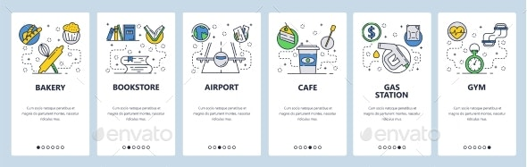 Website Onboarding Screens Places - Web Elements Vectors