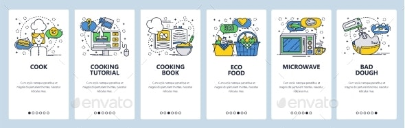 Website Onboarding Screens Cooking - Food Objects