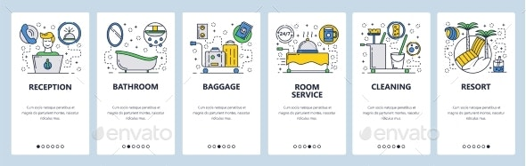 Website Onboarding Screens Hotel Service - Travel Conceptual