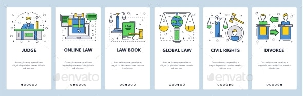 Website Onboarding Screens Court and Legal - Web Elements Vectors