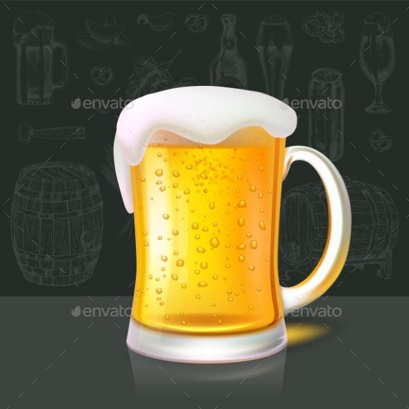 Mug of Refreshing Cold Beer on Background