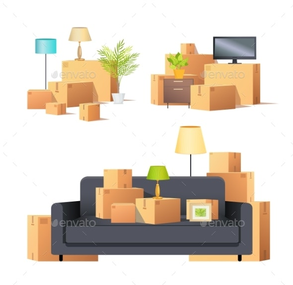 Move in New Apartment Carton Boxes Set Vector - Buildings Objects