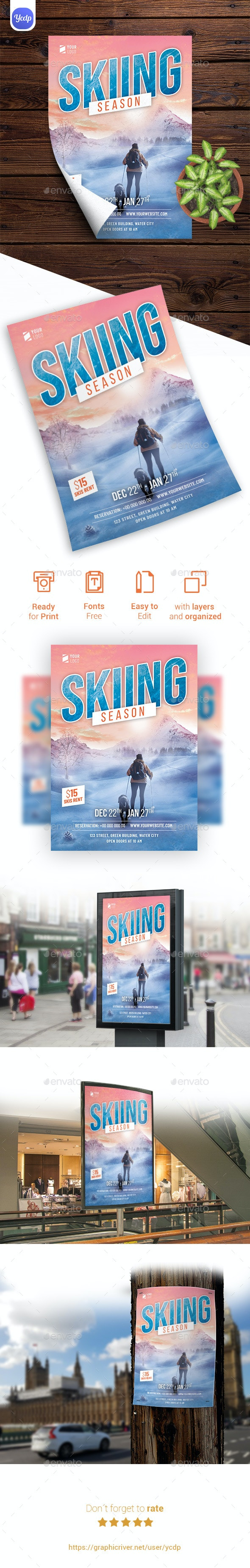 Skiing Season Flyer Template - Flyers Print Templates