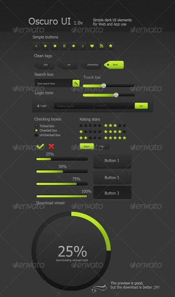 Dark Professional UI -  Oscuro 1.0v - Buttons Web Elements