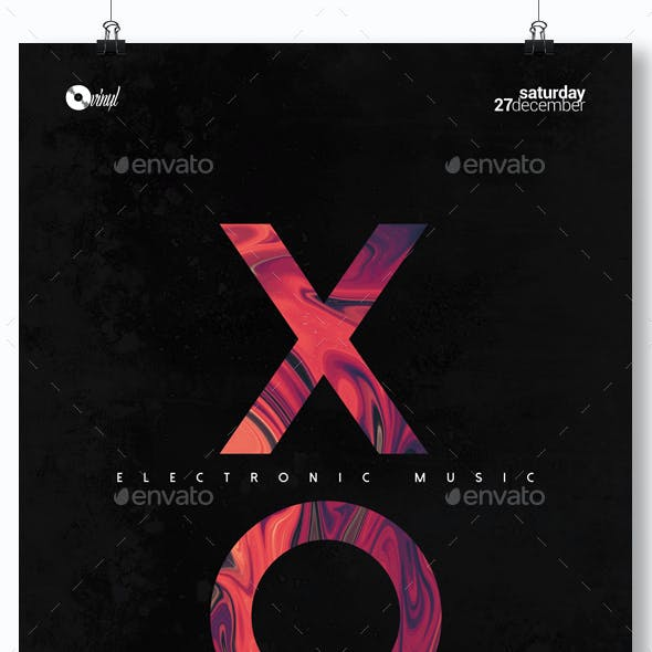 Electronic Music - Minimal Party Flyer / Poster Template A3
