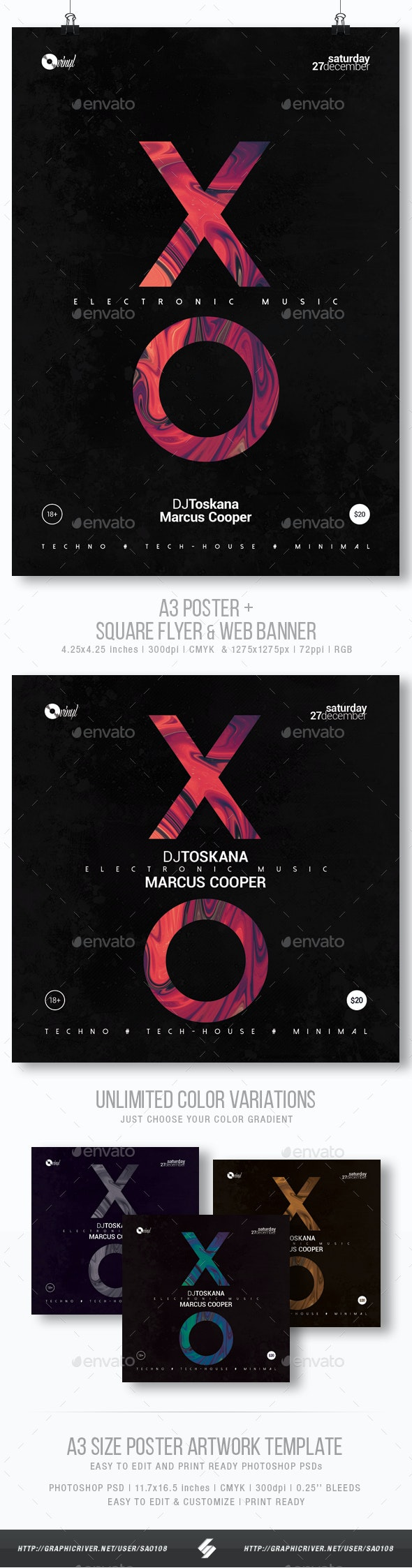 Electronic Music - Minimal Party Flyer / Poster Template A3 - Clubs & Parties Events
