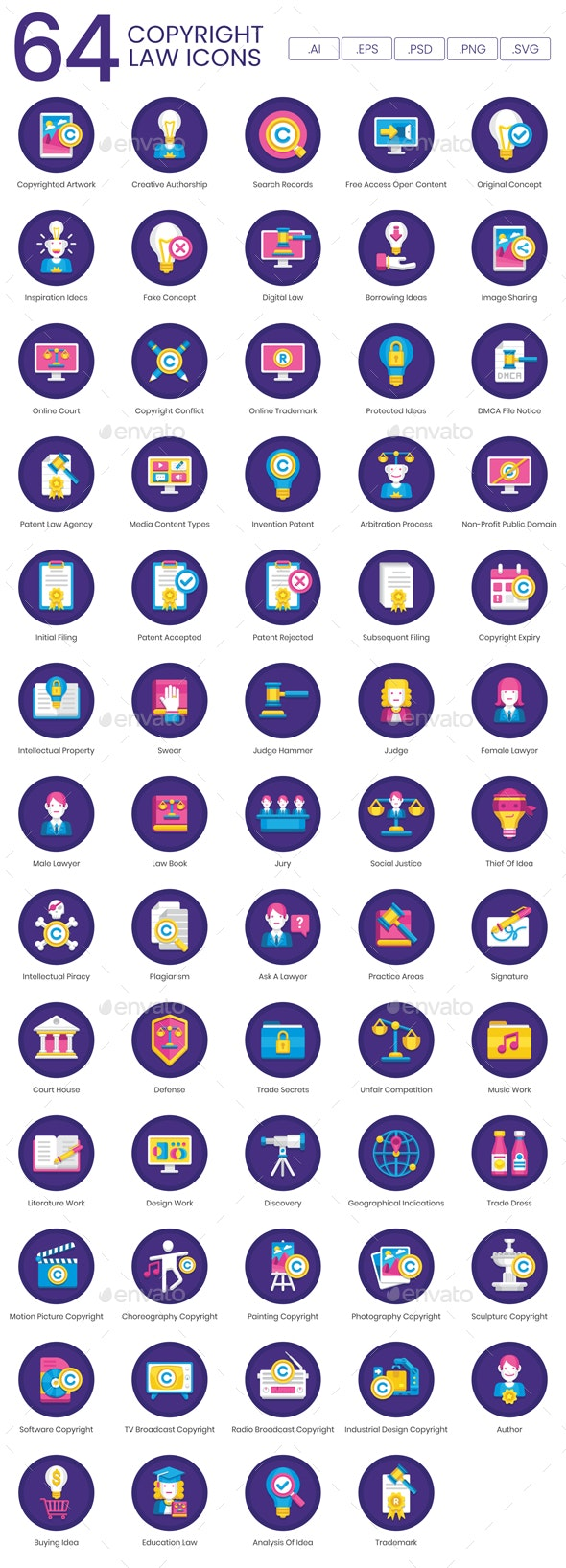 Intellectual Property Law Icons - Business Icons