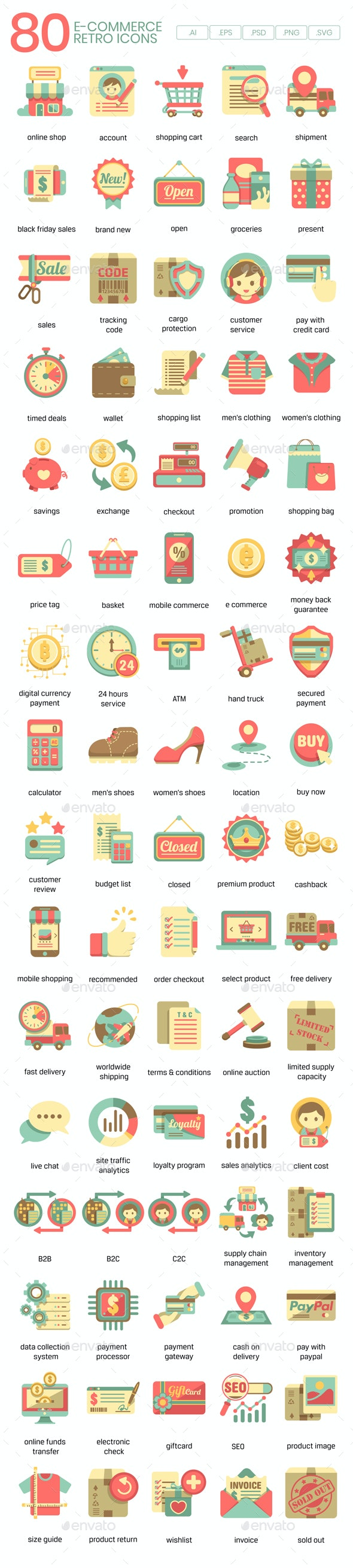 Ecommerce Icons - Retro - Business Icons