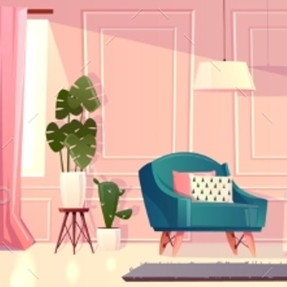 Vector Luxury Living Room in Pink Color