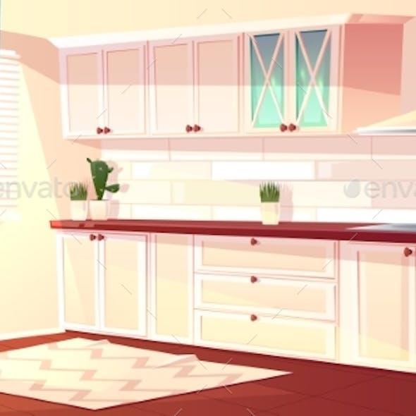 Vector Cartoon Empty Kitchen in Pink Colors