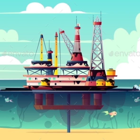 Vector Oil Rig in Water with Pollution