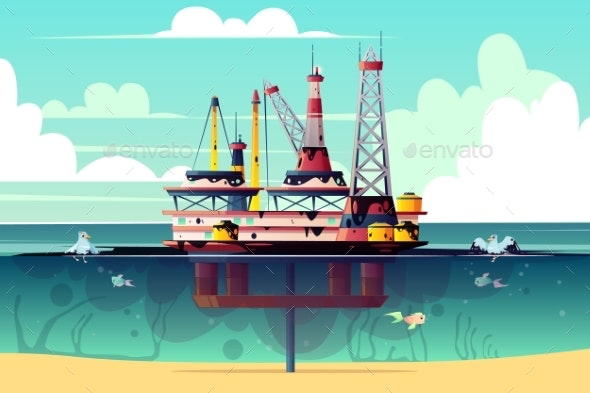 Vector Oil Rig in Water with Pollution - Backgrounds Decorative