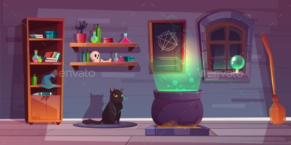 Vector Game Background of Witch House - Backgrounds Decorative