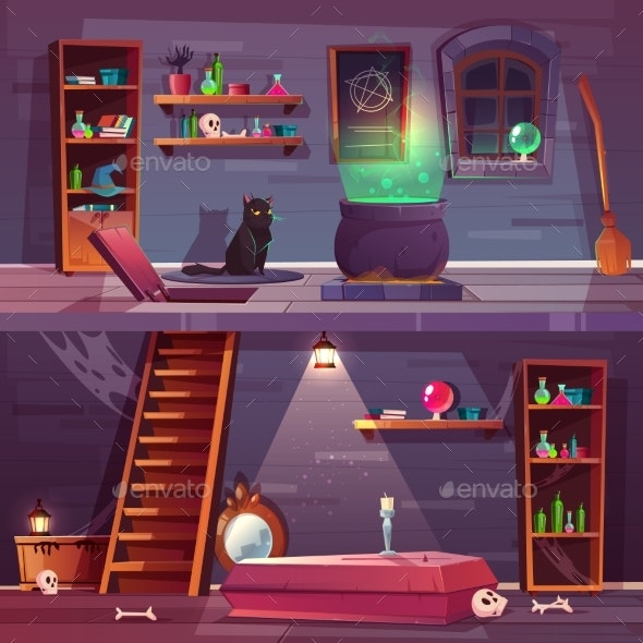 Vector Quest Background of Witch House - Backgrounds Decorative