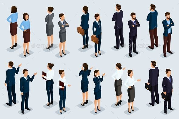 Isometric Set Businessmen and Businesswomen - People Characters
