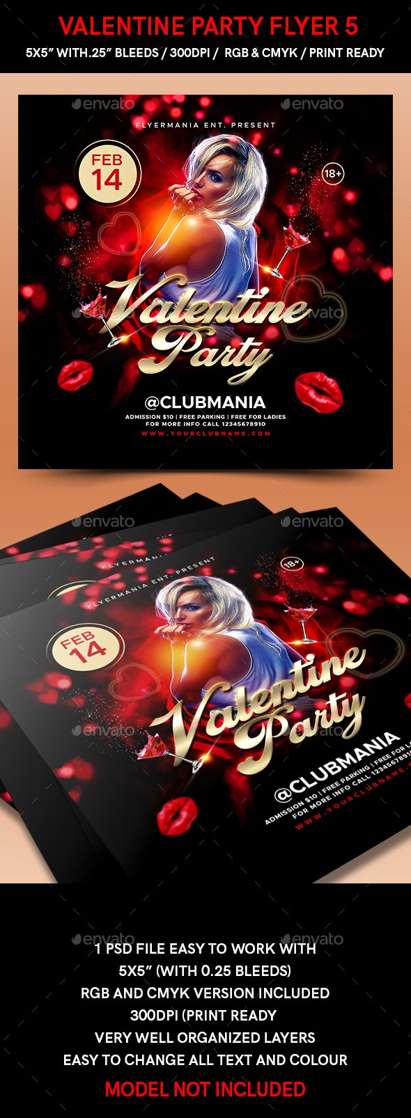 Valentine Party Flyer 5 - Flyers Print Templates