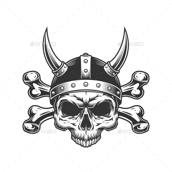 Vintage Viking Skull - Miscellaneous Vectors