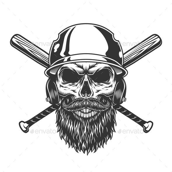 Vintage Skull in Baseball Helmet - Sports/Activity Conceptual