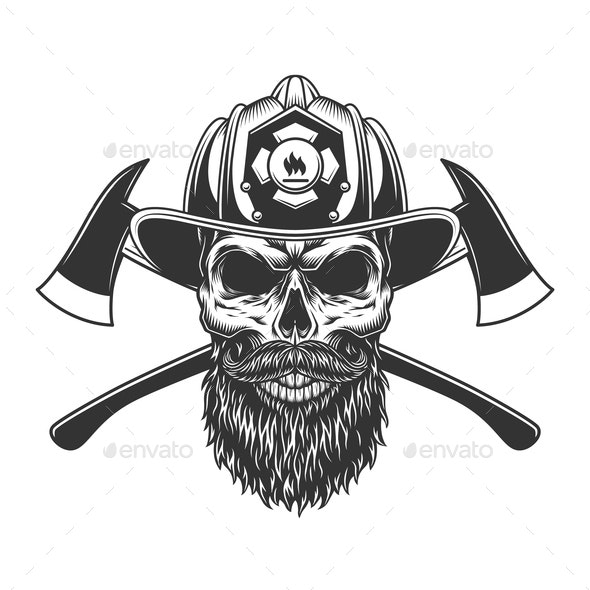 Bearded and Mustached Fireman Skull - Miscellaneous Characters