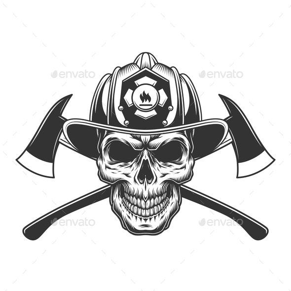 Vintage Fireman Skull - Miscellaneous Vectors