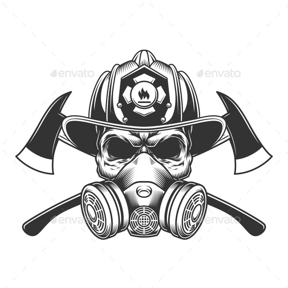 Vintage Monochrome Firefighter Skull - Miscellaneous Vectors