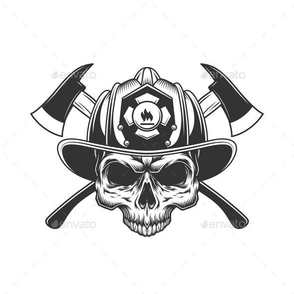 Skull Without Jaw in Fireman Helmet - Miscellaneous Vectors