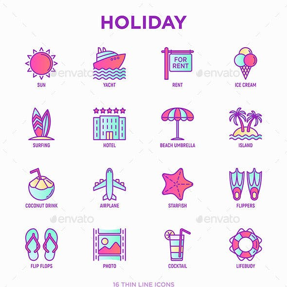 Holiday | 16 Thin Line Icons Set