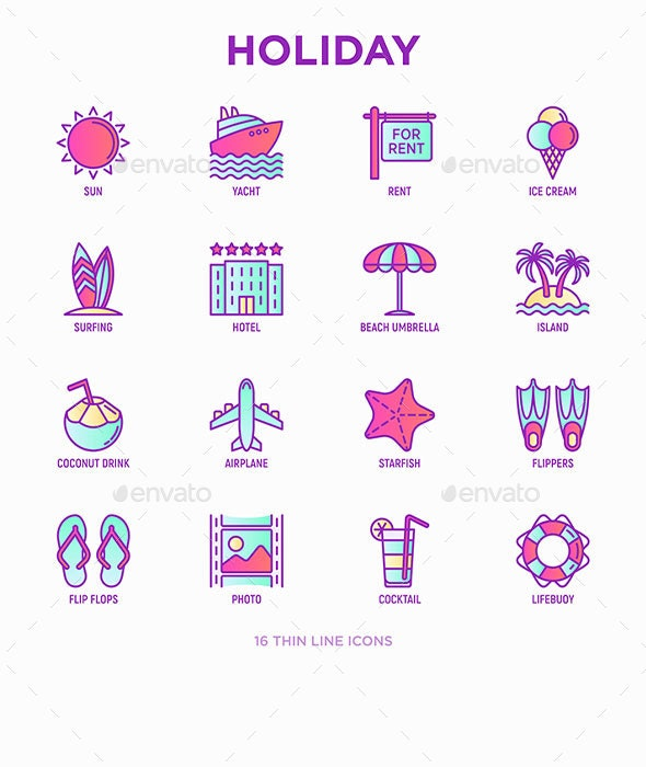 Holiday | 16 Thin Line Icons Set - Seasonal Icons