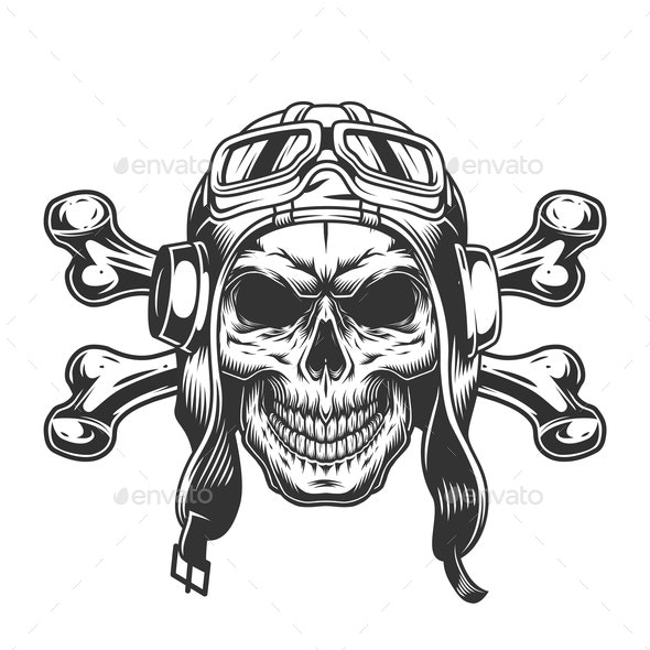 Skull in Pilot Helmet and Goggles - Miscellaneous Characters