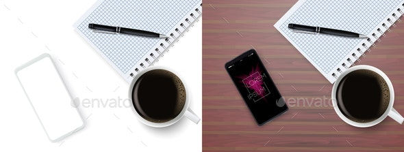 Top View Business Coffee Break with Notepad - Backgrounds Business