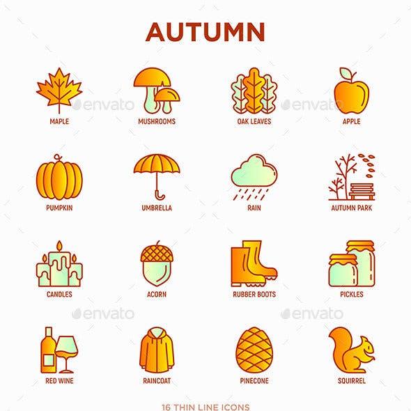 Autumn | 16 Thin Line Icons Set