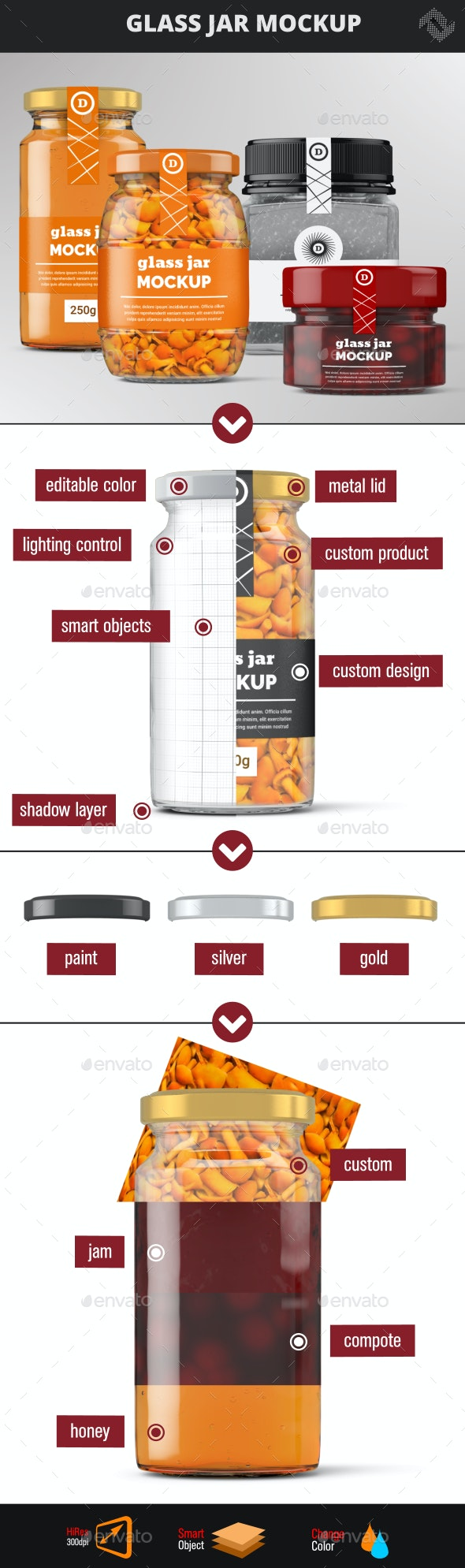 Glass Jars Mock-Up - Food and Drink Packaging
