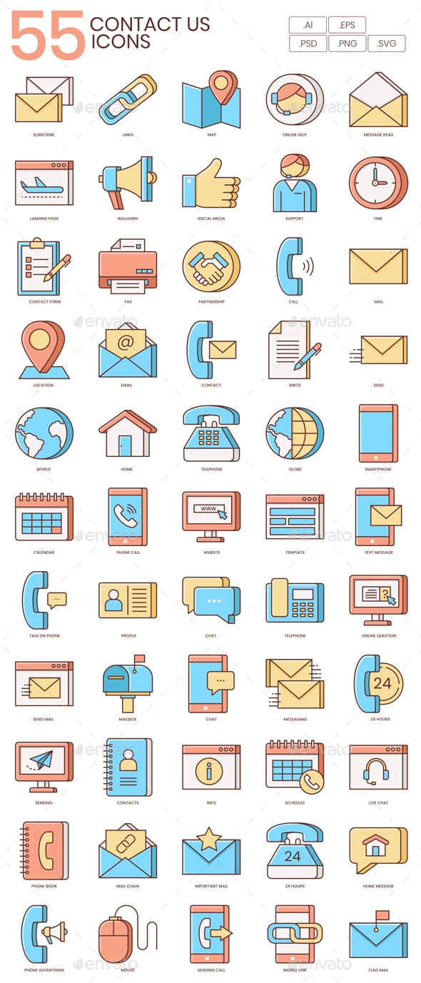 Contact Us Icons - Honey Series - Business Icons