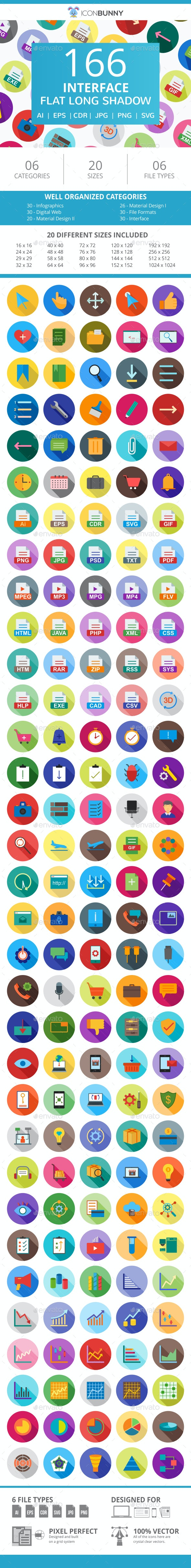 166 Interface Flat Long Shadow Icons - Icons