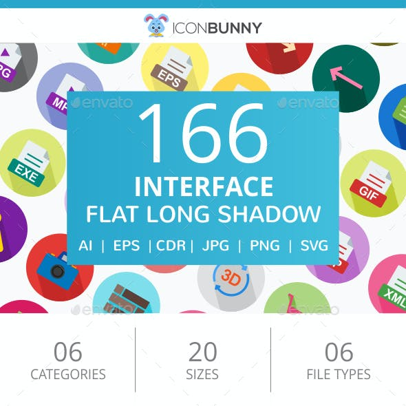 166 Interface Flat Long Shadow Icons