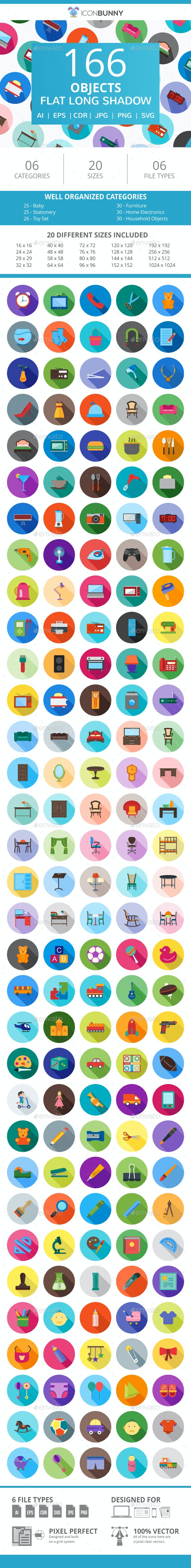 166 Objects Flat Long Shadow Icons - Icons