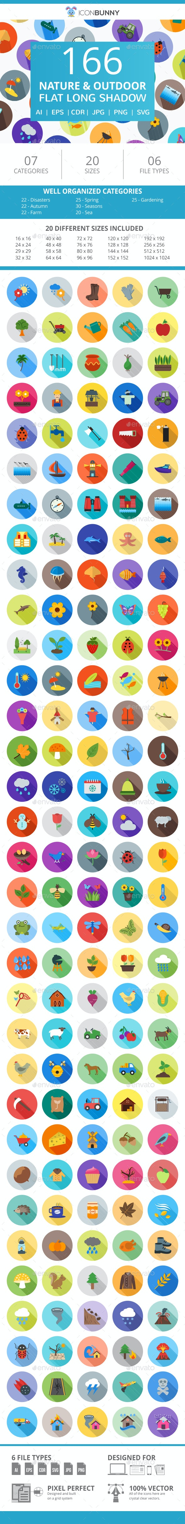 166 Nature & Outdoor Flat Long Shadow Icons - Icons