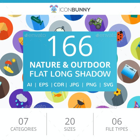 166 Nature & Outdoor Flat Long Shadow Icons