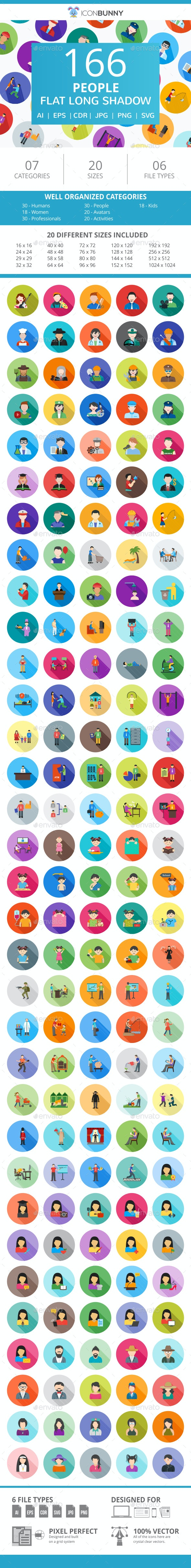 166 People Flat Long Shadow Icons - Icons