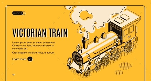 Victorian Era Train Isometric Vector Web Page - Industries Business