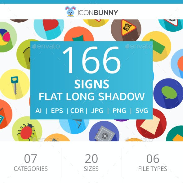 166 Sign Flat Long Shadow Icons